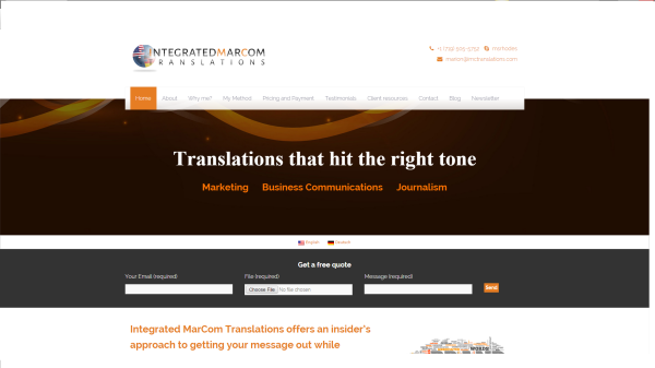 The new homepage of Integrated MarCom Translations